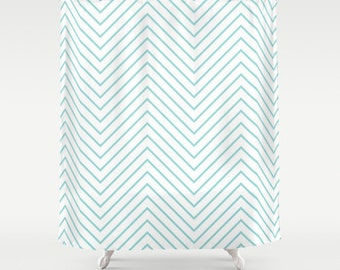 Chevron Shower Curtain - Aqua - Turquoise Shower Curtain - Dorm Shower Curtain - Dorm Decor - Girl's Room - Teen Room Decor - Turquoise