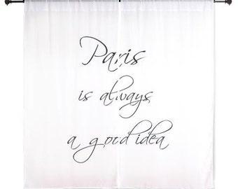 Chiffon Curtains, Paris Is Always A Good Idea, Paris Decor, Bedroom Curtains, Black and White, Girls Curtains, Teen Girl Room Decor, Paris