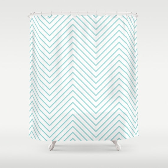 Chevron Shower Curtain Aqua Turquoise Shower Curtain
