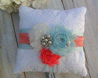 Ring Bearer Pillow, Turquoise/Coral Ring Bearer Pillow, Shabby Chic Ring Bearer Pillow, Bridal Accessory, YOUR CHOICE COLOR, Ring Pillow