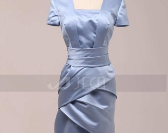 Tea Length Modest Bridesmaid Dress Mother of Bride Dress Available in Plus Sizes B460