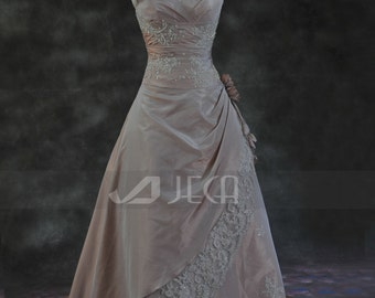 A-line V Neckline Taffeta Wedding Gown Available in Plus Sizes