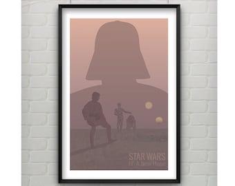 Star Wars Poster, Minimalist Silhouette Art, Star Wars Movie Print, Luke Skywalker, Darth Vader Star Wars Art