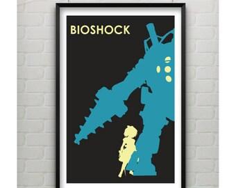 Bioshock Art, Minimalist Bioshock Poster, Bioshock Video Game Poster, Silhouette Art Video Game Art, Gift for Gamer Print, Bioshock Art