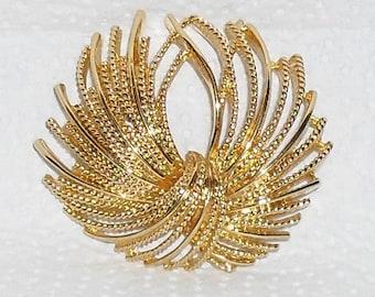 Monet Gold Tone Bow Pin Brooch