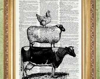 Kitchen Wall Decor Art Print  Farm Animals Farmhouse Decor
