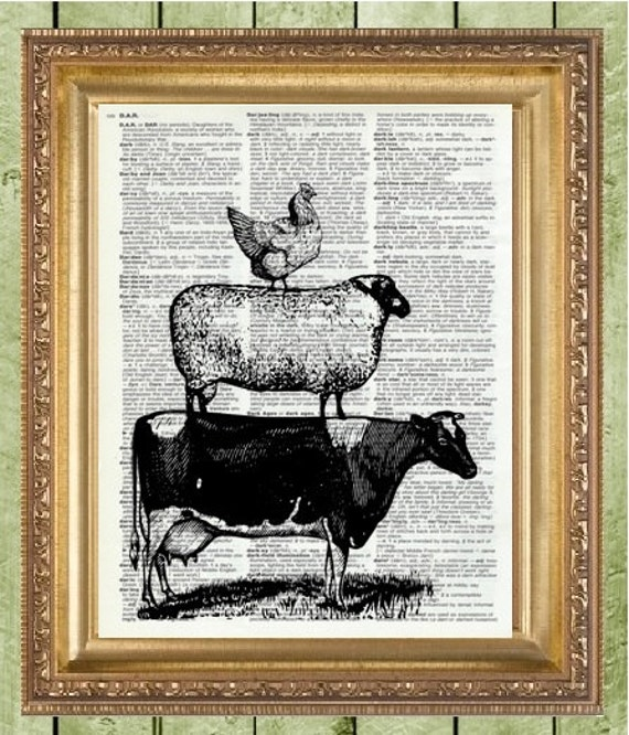 Zebra Print Kitchen Decor: Kitchen Wall Decor Art Print Farm Animals Farmhouse Decor