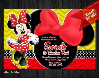 DIGITAL yellow red Minnie Mouse Invitation for Minnie Birthday - Red Minnie bow and chevron patterns