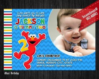 Elmo Invitation - PHOTO Sesame Street Invitation for Elmo Birthday, Personalized Digital file - Elmo Sesame Street Party