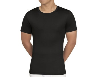 SculptX Tall Mens Black Performance Crew Neck Undershirt With Benefits Mens Shapewear