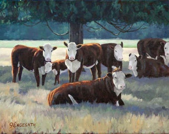 """Cows - Hereford Cattle -  8"""" x 10"""" giclee print"""
