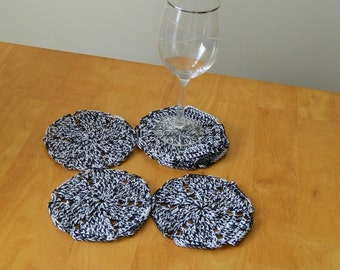 Crocheted Coasters - set of 6 in Black & White