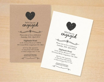 Black & White Crayon Heart Engagement Invitations