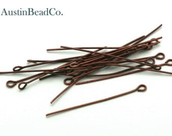 50pcs Eye Pin, 40mm, Copper, Jewelry Findings, Handmade Jewelry Supplies -  21 Gauge,  0.7 X 40mm (I066)