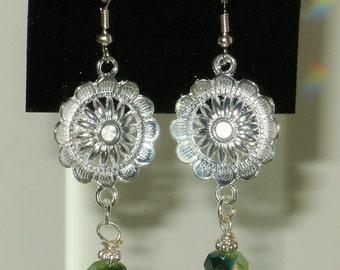 Two-Tone Green & Silver Suns Earrings