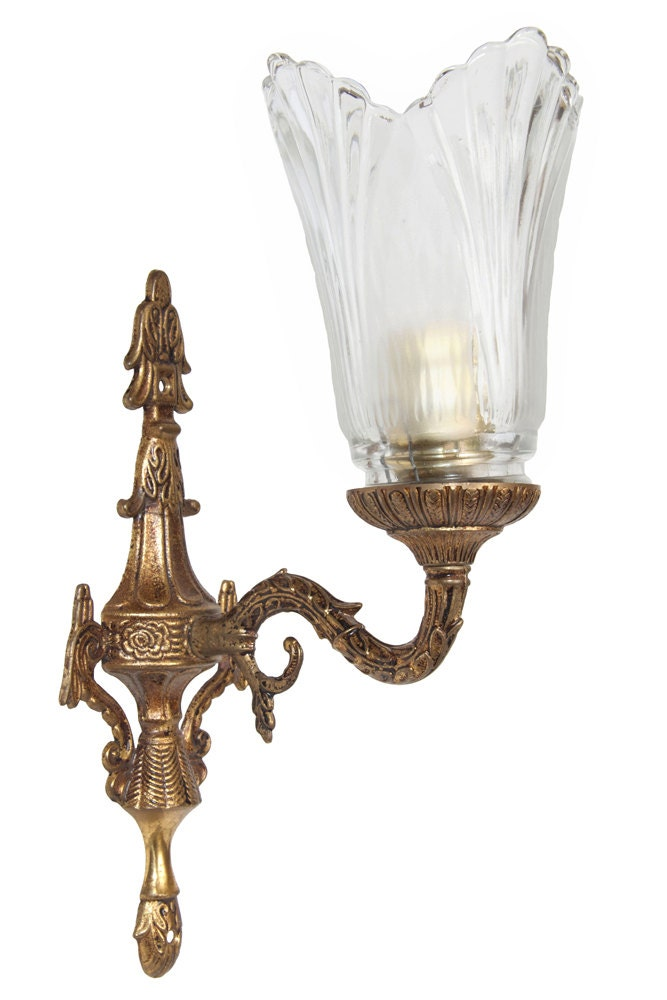 Decorative Electric Wall Sconces : Vintage Sconce Brass Wall Lamp Lighting Electric Wall Mount