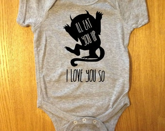 Cute I LOVE YOU SO Where the Wild Things Are Baby One Piece Bodysuit Creeper Jumper Romper Girl Boy Unisex Neutral OakTees. (Black vinyl)