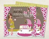 Little Ladybug Girl Baby Shower Invitations - Brunette
