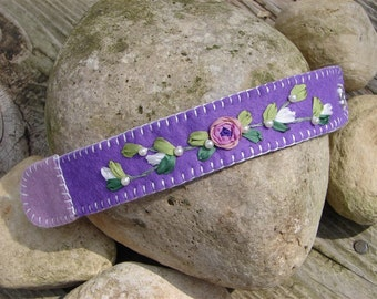 Purple Wool Felt Cuff Bracelet With Silk Ribbon Embroidery