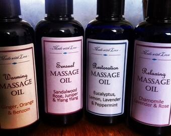Gift Set - 4 Massage Oils - Restoration, Sensual, Relaxing & Warming
