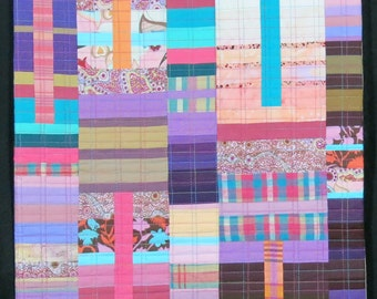 "Quilt Art, Art Quilt, Wallhanging. Rising #24 - Desert Light. 37""H x 17""W. Pieced and quilted in 100% cotton, hanging sleeve."
