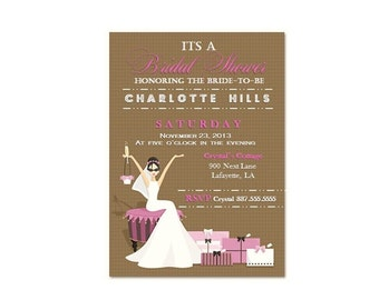 Pink and Brown Bridal Shower Invitation