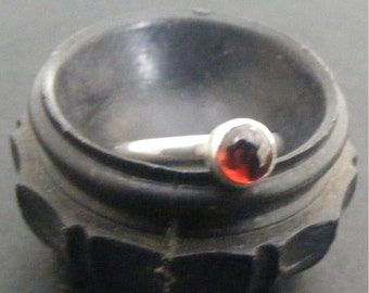 Sterling silver and orange garnet ring