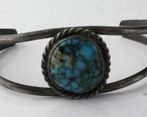"Vintage Native American Spiderweb Bisbee Turquoise Stunning Cuff 5"" (not including the gap of 1.5"") 050"