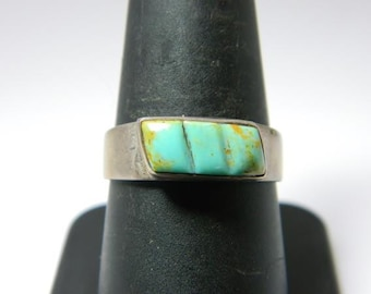 Vintage Native American Sterling Silver Green Turquoise (Sz 9) Inlay Ring NA627