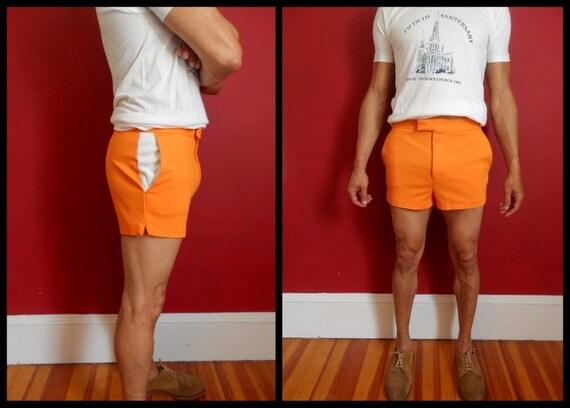 60s Mens Swim Trunks Shorts 60s 70s Orange Board Tennis