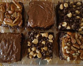 Gourmet Brownie Six pack sampler,  Gourmet brownies, Gourmet handmade brownies, Care package, Chocolate moist brownies