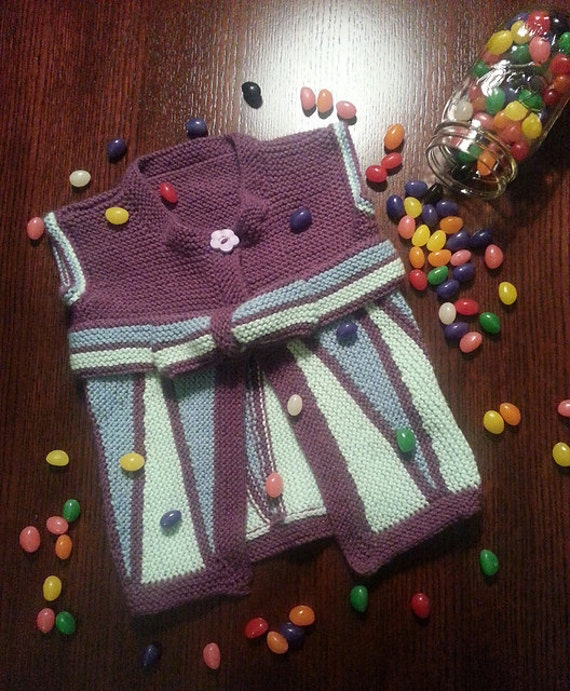 Knitting Pattern Jelly Beans Short Row Baby Cardigan Vest