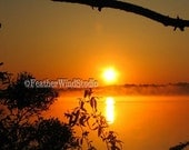 Alabama Sunrise Fog Lake Landscape Photography Sun On Horizon Misty Morning Water Sun Reflection Orange Sunny Glare Surreal Art Sun Print