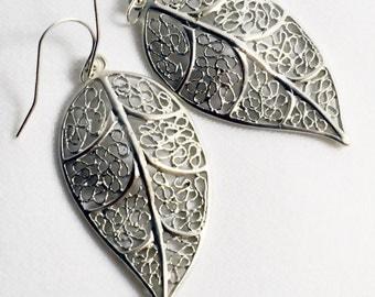 Long Silver Leaf Earrings, Ornate Filigree, Trendy Leaf Earrings, Modern Silver Filigree Jewelry  Elegant