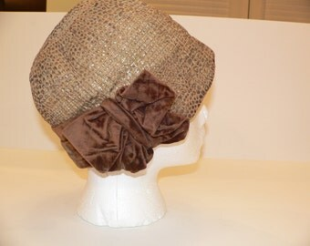 1920 Cloche Tan with Gold Lamé and Brown Velvet