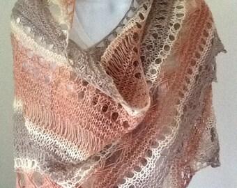 Asymmetric knitted shawl