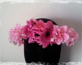 Bibi Crown Florette with pink flowers