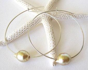 Pearl Hoop Earrings, Sterling Silver Hoop Earrings, South Sea Pearl Earrings, 14K Gold Hoops, Tahitian Pearl Earrings, Large Gold Hoops