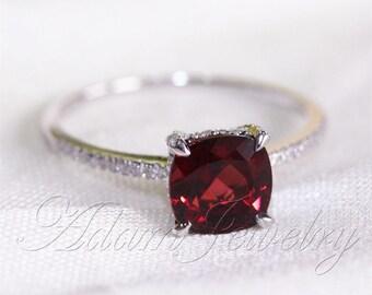 cushion cut 8mm red garnet ring pave diamonds 14k white. Black Bedroom Furniture Sets. Home Design Ideas