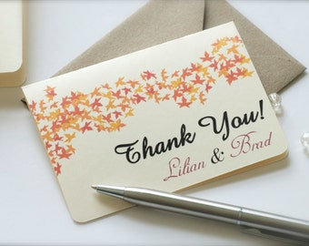 Personalized enclosure cards, mini thank you cards, thank you notes, leaves thank you cards, fall cards, fall wedding cards - set of 5