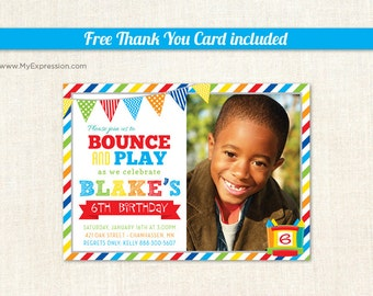Brawny Stripes Bounce House Boys Birthday Photo Card - Pump It Up Birthday Party - Boys Photo Birthday Invitations - Printable