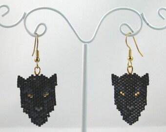 Beaded Black Panther Earrings