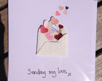 Personalised handmade 'sending love' Engagement/wedding/anniversary husband/wife/partner