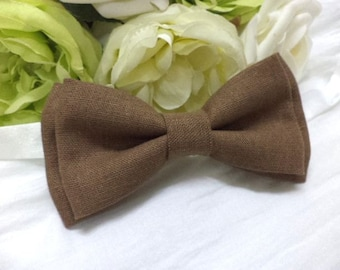 Brown linen bow tie, brown bow tie, men's bow tie, rustic, shabby, wedding, groom, groomsmen, vintage style, classic