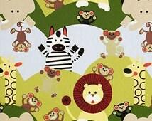 cheeky jungle animal nursery fabric by the metre
