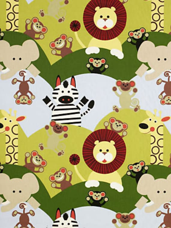 Cheeky jungle animal nursery fabric by the by for Childrens jungle fabric