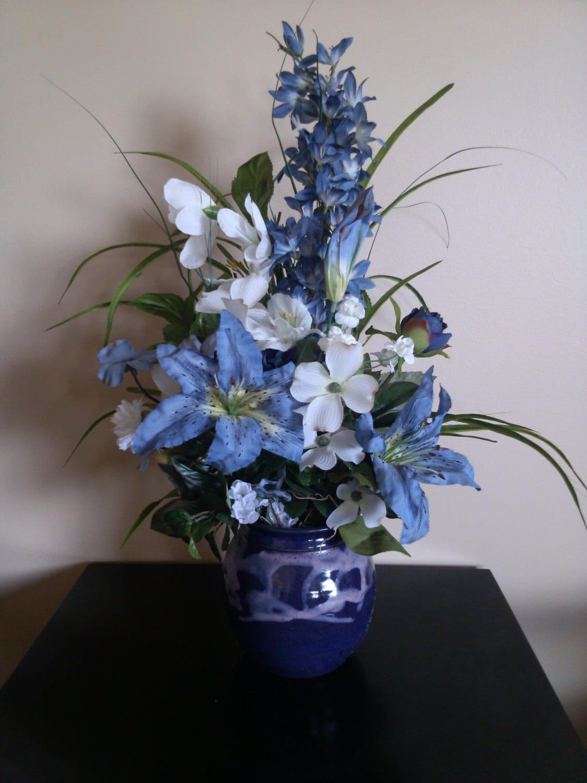 Blue Lily Silk Flower Arrangement