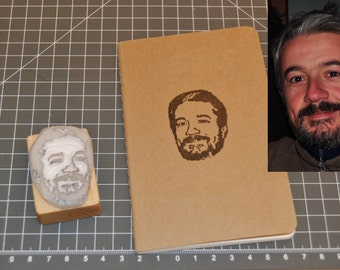 Photo portrait  -  Hand carved rubber stamp