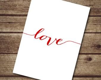 INSTANT DOWNLOAD Valentine card, 5x7 valentine card printable, DIY valentine card, love typography card