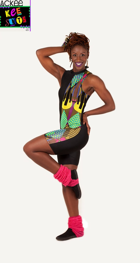 ACKEE 'KEE SUIT' Half Green/ Black Geometric Patterned Lycra/ Spandex Handmade Unitard